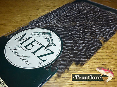 Metz Hen Saddle #1 Grizzly For Wings & Soft Hackle - New Fly Tying Cape Feathers
