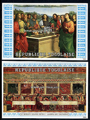 Togo 1984 The Twelve Apostles x2 mini sheets IMPERF / IMPERFORATE MNH Art