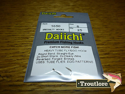 25 x DAIICHI 1650 #6 EGG & TUBE FLY HOOK NEW FLY TYING 2X HEAVY TRAILER HOOKS