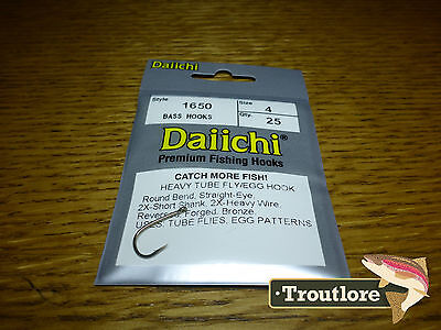 25 x DAIICHI 1650 #4 EGG & TUBE FLY HOOK NEW FLY TYING 2X HEAVY TRAILER HOOKS