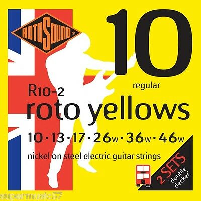 2 Sets Rotosound R10 Roto Yellows Electric Guitar Strings 10-46 Regular