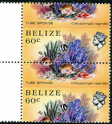 Belize 1983 Marine Life 60 cent Tube Sponge pair SPECTACULARLY MISPERFORATED MNH