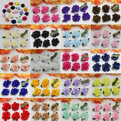 12-60-120PCS NEW Satin Ribbon Carnations Flowers Appliques DIY Crafts Supplies