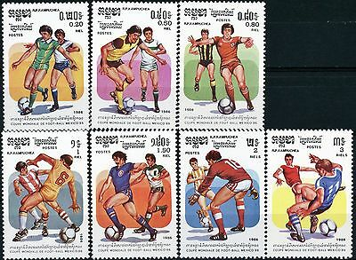 Cambodia 1986 World Cup Complete Set 7 MNH Scott's 691 to 697