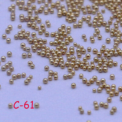 24g Glass Micro Beads No Hole 0.6-1mm Nail Art Caviar Marbles Microbead DIY Gold