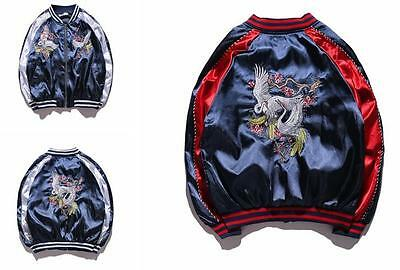 Mens Womens Hot Unisex Sukajan Jacket Coat Premium Embroidered Bomber Outerwear