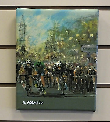 Mark Cavandish  Cycling print on streched cotton canvas ready to hang 10X8 Inch