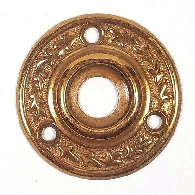 ~ Antique Victorian Brass Door Rosette Fancy Ornate Hardware Rose Escutcheon Vtg