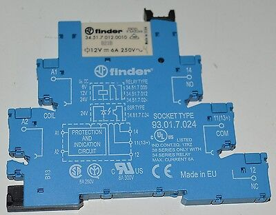 Finder DIN rail socket 93.01.7.024 with 34.51.7.012SPST relay