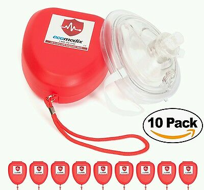 10 Eco Medix Adult CPR Mask In Red Hard case