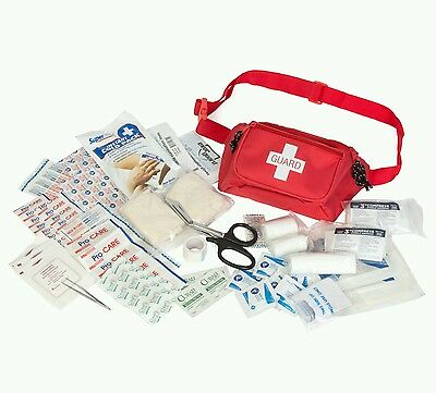 Lifeguard Emergency First Aid Waist Kit Fully Stocked RED Fanny Pack