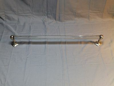 "Antique 24"" Glass Towel Bar Nickel Brass Brackets Vtg San-O-La Fixture 1604-16"