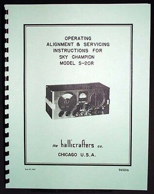 Hallicrafters S-20R S20R Sky Champion Alignment and Servicing Manual