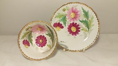 Tuscan C4034 Handpainted Pink and Red Flowers Cup and Saucer Set Signed F. Obrey
