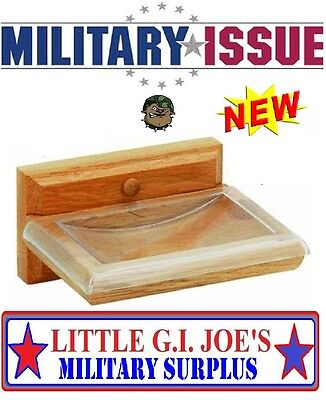 """NEW Wall Mount SOLID OAK SOAP DISH With Clear Plastic Overlay 5"""" x 3.5"""" Military"""