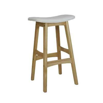 New Kitchen Bar Timber Gangnam Stool Wooden Cafe Stools Natural + White Seat