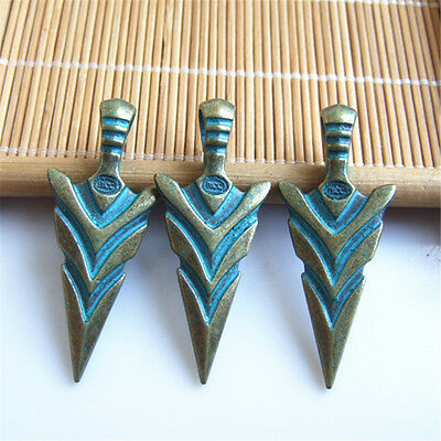 10 pcs Antique Greek Bronze Patina Arrows Spearhead Charm Pendant For DIY ACC