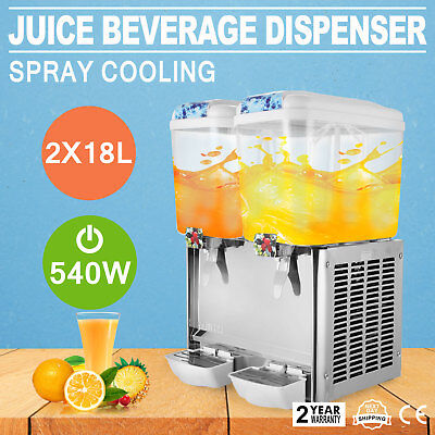 9.5 Gallon Juice Beverage Dispenser Agitators Stainless Steel 2X18L Great