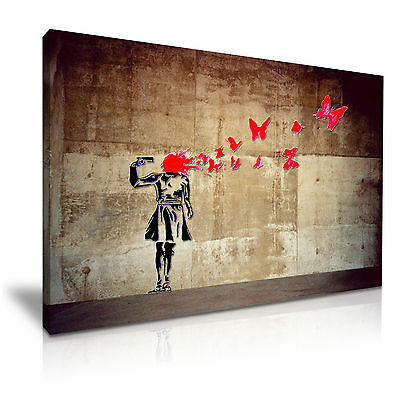 Banksy Girl Butterflies Suicide Canvas Wall Art Picture Print 76x50cm