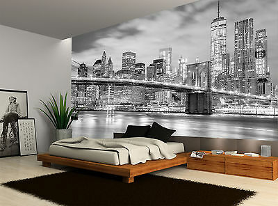 Black And White City Night Bridge Wall Mural Photo Wallpaper GIANT WALL DECOR
