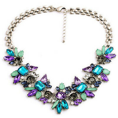 Women Bib Flower Crystal Pendant Silver Plated Chain Choker Statement Necklace