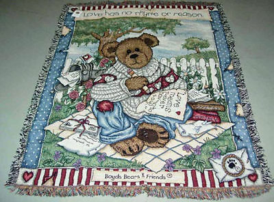 Boyds Bears Love Letters Tapestry Afghan Throw