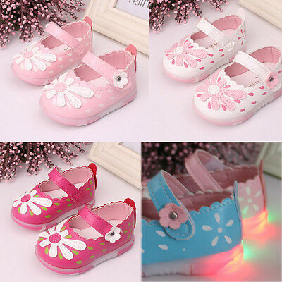 Newborn Baby Kids Girls Princess Shoes Sunflower Lighted Soft Sole Pram Sneakers