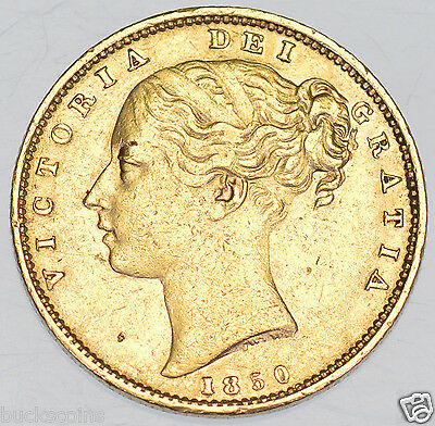 Extremely Rare 1850 Shield Back Sovereign British Gold Coin From Victoria Gvf