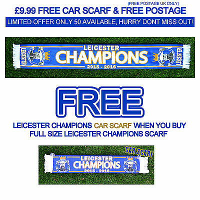 Leicester City Champions Scarf 2015 2016 / With ***free*** Car Scarf