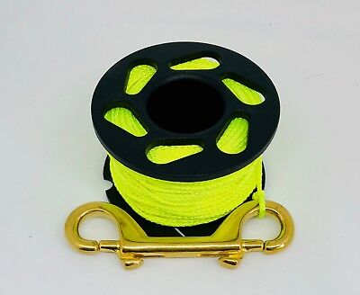 Scuba Diving Finger Reel 30m With Brass Double Ended Snap Clip yellow line