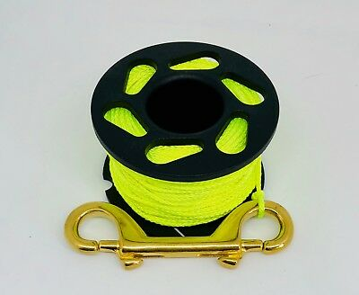 Scuba Diving New Style Finger Reel 30m Yellow Line with brass double ended bolt