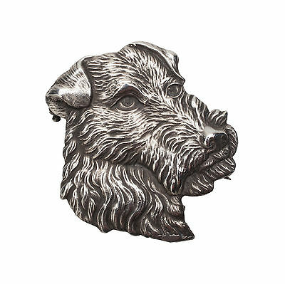 Vintage Sterling Silver Kerry Blue or Airedale Terrier Dog  Brooch Pin