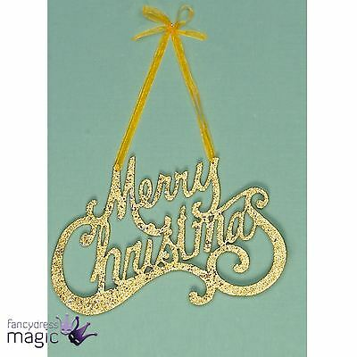 *25cm Gold Glitter Merry Christmas Xmas Hanger Hanging Decoration Sign Plaque*