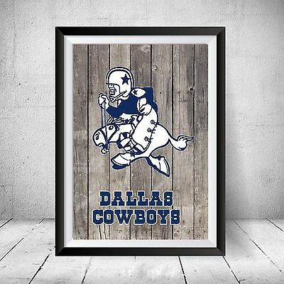 Vintage Dallas Cowboys Football Logo NFL Distressed Wood Print Art Gift Poster