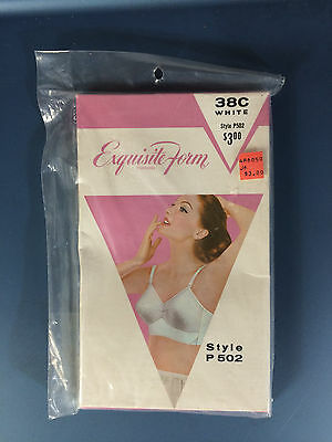 Vintage Exquisite Form 38C Cone Retro Bra White Retro 60s
