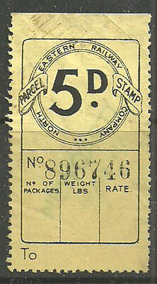 5D North Eastern Railway Parcel Stamp Lightly Cancelled Newcastle In Green