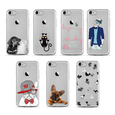 iPhone 7 & 8 Clear Silicone Sketch Dog Cat Animal Print Gel Back Case Slim Cover
