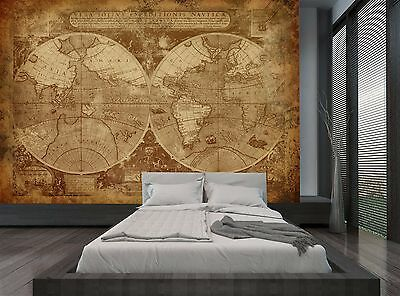 Old World Map Brown Retro Wall Mural Photo Wallpaper GIANT WALL DECOR