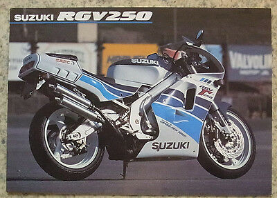 SUZUKI RGV250 MOTORCYCLE Sales Specification Leaflet 1991