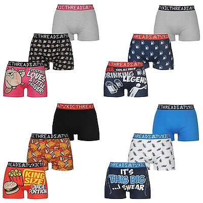 3 Pack of Mens Toxic Threads Novelty Boxer Shorts Funny Trunks Underwear S XXL