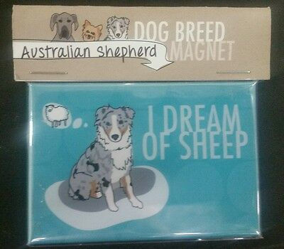 Pop Doggie I Dream of Sheep Blue Merle Australian Shepherd Fridge Magnet