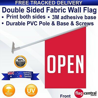 OPEN Red Deluxe Vinyl Wall Flag/Banner 60x40cm *Tracked Delivery *Banner *Retail