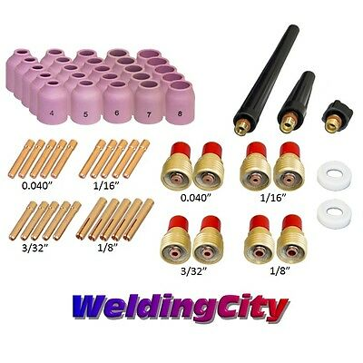 "58-pcs TIG Welding Torch Kit .040""~1/8"" Gas Lens Setup 9/20/25 TAK47 