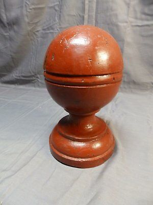 Antique Wood Red Newel Post Finial Gingerbread Cottage Chic Vtg Garden 1609-16
