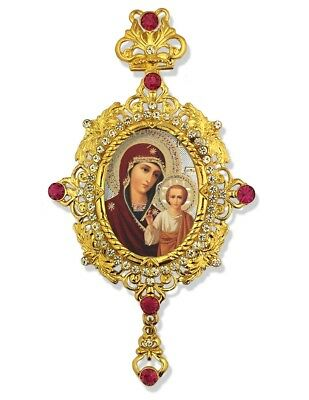 Russian Icon Pendant Madonna and Child Christ Jeweled Crown 5 Inch