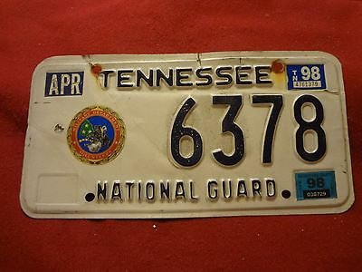 1998 Tennessee National Guard License Plate: #6378