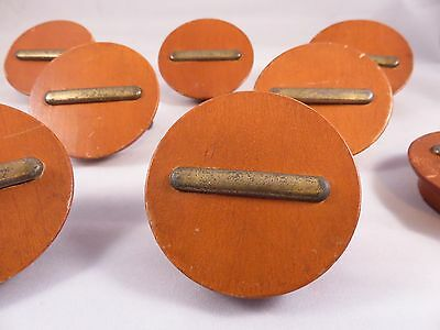 8 MODERNIST Wood Brass DRESSER DRAWER PULLS Art Deco GILBERT ROHDE Mid Century