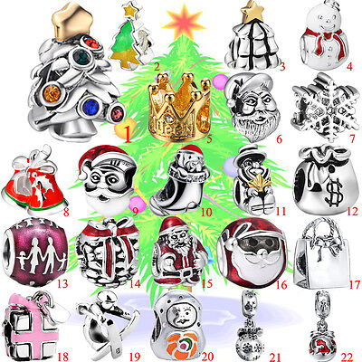 Perle Breloque Santa Christmas Plated 925 Silver Charm Spacer Bead Fit Bracelet