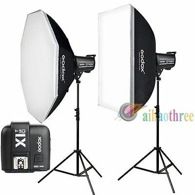 Godox QT600II 2x600W 1/8000s Continuous Shooting Studio Flash Light Kit Fr Canon