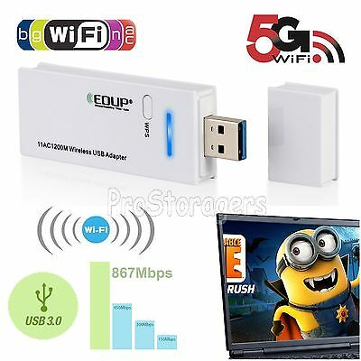 AC1200 Wireless Dual Band WiFi USB Dongle WPS 2.4/5G Network Adapter For Windows